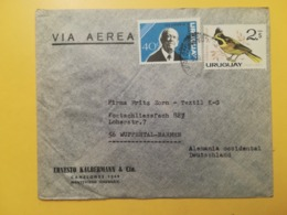 1962 BUSTA INTESTATA URUGUAY STORIA POSTALE BOLLO LOUIS ALBERTO HERRERA BIRDS VIA AEREA ANNULLO AIRMAIL - Uruguay