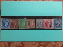 GRECIA 1855/65 - Nn. 14A-17a-19-20-22-23-28 Timbrati + Spedizione Prioritaria - 1861-86 Grande Hermes
