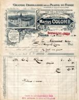 9095  -2019   FACTURE DISTILLERIE  MARIUS COLOMB A FEURS LOIRE - Francia