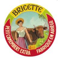 ETIQUETTE De FROMAGE. Petit CAMEMBERT Fabriqué En ARIEGE..BRICETTE...VACHE - Fromage