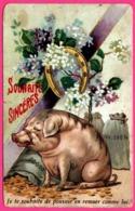 """Cp Taxée - Pig - Cochon - Souhaits Sincères - """" Je Te Souhaite De Pouvoir En Remuer Comme Lui """" - Argent - 1931 - Cerdos"""