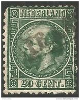 670 Netherlands 1867 20c Vert Green Thin Aminci (NET-5) - Oblitérés