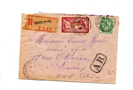Lettre Recommandée Beuvron Sur Merson Blanc - Postmark Collection (Covers)
