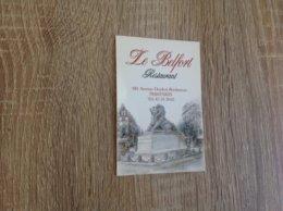 Belle Carte De Visite De Restaurant   Le  Belfort   Paris - Cartoncini Da Visita