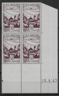 1947 Maroc N° PA 62 Nf** MNH. ' Bloc Coin Daté 32. 9. 47 ). Poste Aérienne . Les Remparts De Salé. - Aéreo