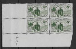 1947 Maroc N° PA 65 Nf** MNH. ' Bloc Coin Daté 31. 12. 47 ). Poste Aérienne . Œuvres De Solidarité - Marruecos (1891-1956)