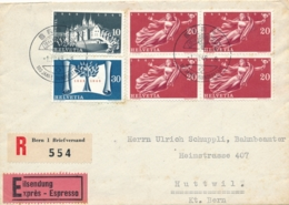 Schweiz - 1948 - 6 Stamps On Exprès R-cover From Bern To Huttwil - Briefe U. Dokumente