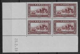 1933-34 Maroc N° 138 Nf** MNH. '( Bloc Coin Daté 28. 2. 39 ). Kasbah Des Oudaïas (Rabat). - Marokko (1891-1956)