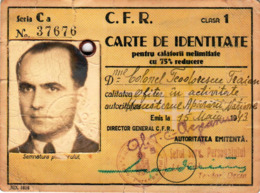 Romania, 1943, Romanian Railways CFR Identity Card - Revenue Fiscal Stamps / Cinderellas - Otros