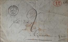 DF40266/638 - ✉️ Du 9 AVRIL 1848 - ALLEVARD (Isère) à GRENOBLE (Isère) - Taxe Manuscrite + OR (origine Rurale) + Id - Marcophilie (Lettres)