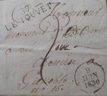 DF40266/639 - ✉️ (LAC) Du 9 JUIN 1830 - LE TOUVET (Isère) à GRENOBLE (Isère) - Taxe Manuscrite 2c - Marcophilie (Lettres)
