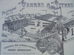 PARIS XII ème - VERRES A VITRE ET GLACES - PICARD ET CIE - PARIS 1900 - BELLE DECO - Frankreich