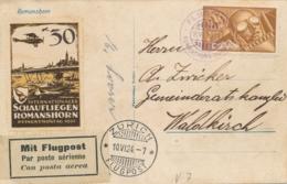 Schweiz - 1924 - 35c Flugpost On Small Postkarte Schaufliegen Romanshorn From Zürich To Waldkirch - Luchtpostzegels