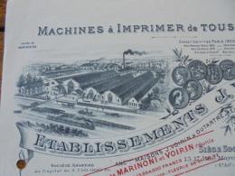 FACTURE - PARIS 6ème - MACHINES A IMPRIMER - ETS J. VOIRIN - BELLE DECO - Frankreich