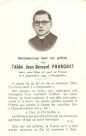 Faire-part De Décès De L'abbé Jean-Bernard Pourquet (+1944), Mort Pour La France à Montpellier à 21 Ans - Avvisi Di Necrologio