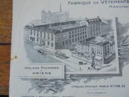 FACTURE - AMIENS 1931 - VETEMENTS, DRAPERIE, VELOURS, COUTIL - ANDRE DANIEL - BELLE DECO - Frankreich