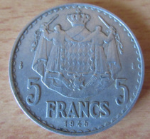 Monaco - Monnaie 5 Francs 1945 Louis II En Aluminium - 1922-1949 Louis II