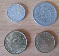 France - 4 Monnaies Modernes - 1 Franc Bazor 1943 SUP / 5 Francs Lavrillier 1946 B / 50F Guiraud 1951 / 50 Cts 1963 - France
