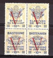 """Belgique - Bloc De 4 Avec Surcharge V + Surcharges Privées """"Bastogne 1950"""", """"Bataille Du Saillant"""" - Neuf ** - Belgium"""