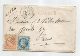 JURA - CHAUSSIN - GC.986 S/TP Napoleon III N°22+23 + Càd T.15 - CHARGE - 1868 - 1862 Napoleon III