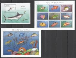 A405 ST.VINCENT MARINE LIFE TROPICAL FISH OF THE CARIBBEAN MARLIN 2KB+1BL MNH - Meereswelt