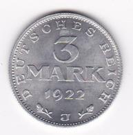 Nb_ Deutsches Reich  -  3 Mark  - 1922 J -  (33) - [ 3] 1918-1933 : Repubblica Di Weimar