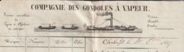 Lettre De Voiture Compagnie Des Gondoles à Vapeur Chalon Sur Saône 1837 - Transportmiddelen