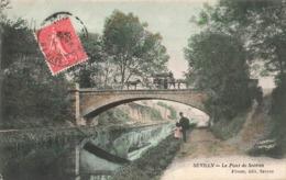93 Sevran Le Pont De Sevran Cpa Carte Animée Colorisée Attelage Cachet Sevran 1907 Edit Pivost - Sevran