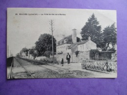 CPA 44 MAUVES VOIE FERREE VERS NANTES PASSAGE A NIVEAU - Mauves-sur-Loire