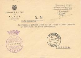 34090. Carta S.N. Franquicia Juzgado De Paz ALFAR (Gerona) 1959. Fechador Transito Figueras - 1931-Today: 2nd Rep - ... Juan Carlos I