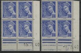 """N° 407 **(MNH) Deux Coins Datés Différents Du 15/1/40 Et 8/3/40 / Blocs De Quatre """"Mercure"""". - Angoli Datati"""