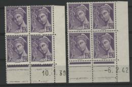 """N° 413 **(MNH) Deux Coins Datés Du 10/1/39 Et 6/2/42 / Blocs De Quatre """"Mercure"""". - Ecken (Datum)"""