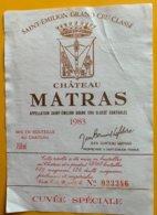 11719 - Château Matras 1983 Saint-Emilion - Bordeaux