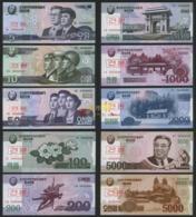 Korea Specimen 2002 2008 2013 5 10 50 100 200 500 1000 2000 5000won 10pcs UNC - Korea, North