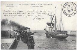"""Cpa...le Littoral (seine-inférieure)..Fécamp...sortie Du Navire Terre-neuvier """"étoile De La Mer"""" Animée...1908... - Fécamp"""
