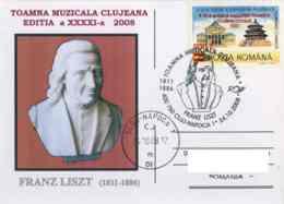 7209  Franz Liszt: Oblit. Temp. + C.p. Commemorative, 2006 - Liszt Ferenc, Composer, Virtuoso Pianist: Pictorial Cancel - Musik