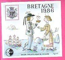 BLOC CNEP N° 7  SALON PHILATELIQUE DE RENNES BRETAGNE 1986 COSTUMES BRETON COEURS - CNEP