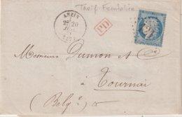 """FRANCE : N° 37 . GC 121 . """" ANZIN """" . (57) . AU TARIF FRONTALIER AVEC LA BELGIQUE . 1871 - Marcophilie (Lettres)"""