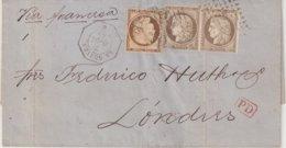 """FRANCE : N° 38 Et PAIRE DU N° 56 . OBL ANCRE . ET CAD D'AGENCE CONSULAIRE . """" LA GUAYRA """" . AB . 1875 . - Marcophilie (Lettres)"""