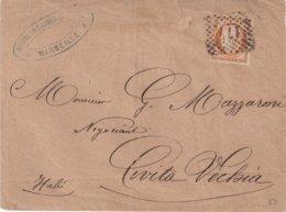 """FRANCE : N° 38 . DE """" MARSEILLE """" . OBL PAR LE CARRE DE POINTS 171 . DE """" CIVITA VECHIA """" . ( ITALIE) . 1873 . - Poststempel (Briefe)"""