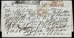 """1852 - Lettera Non Affrancata Da Milano 23/6/1852, Bolli Rossi """"dopo La Partenza"""" E """"via Di Chiasso""""... - Lombardo-Vénétie"""