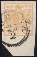 1850 - 5 Cent. Giallo Ocra (1), Ampio Bordo Di Foglio In Basso, Perfetto, Usato A Padova 25/2. A.Die... - Lombardo-Vénétie