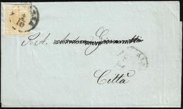 1850 - 5 Cent. Giallo Ocra (1), Lieve Grinza Di Applicazione, Isolato Su Sovracoperta Di Circolare D... - Lombardo-Vénétie