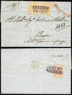 1852 - 5 Cent. Giallo Ocra, Coppia, Perfetta E, Al Verso, 15 Cent. Rosa, III Tipo, Intaccato A Sinis... - Lombardo-Vénétie