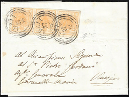1854 - 5 Cent. Giallo Ocra (1), Striscia Di Tre, Perfetta, Su Lettera Da Adria 27/12/1854 A Venezia.... - Lombardo-Vénétie