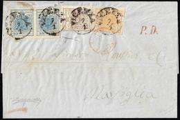 1855 - 5 Cent. Giallo Ocra, 30 Cent. Bruno Lillaceo, II Tipo, 45 Cent. Azzurro Ardesia, I Tipo, Copp... - Lombardo-Vénétie