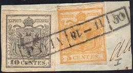 1850 - 5 Cent. Giallo Arancio, 10 Cent. Grigio Nero, Entrambi I Tiratura (1d,2b), Perfetti, Usati Su... - Lombardo-Vénétie