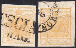 1850 - 5 Cent. Giallo Arancio Chiaro (1f), Due Esemplari Usati, Perfetti. Belli! Un Esemplare A.Dien... - Lombardo-Vénétie