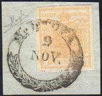 1850 - 5 Cent. Giallo Arancio Chiaro (1f), Perfetto, Usato Su Frammento A Mantova 9/11. Raybaudi.... - Lombardo-Vénétie
