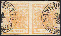 1850 - 5 Cent. Giallo Arancio (1g), Coppia, Perfetta, Usata A Sanguinetto 24/8. Bella. Ferrario.... - Lombardo-Vénétie